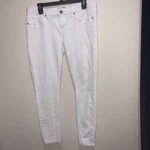 White snake skin pants